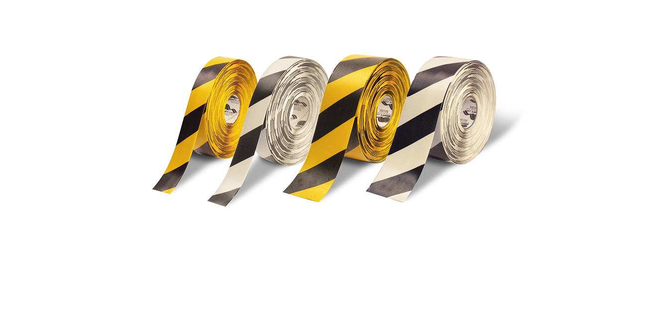 Contrasting floor tapes for possible danger zones